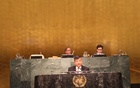 Bangladesh's Permanent Representative to the UN Masud Bin Momen addressing the UN General Assembly.