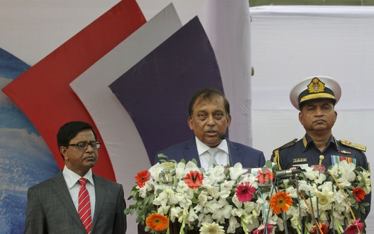 Home Minister Asaduzzaman Khan speaks at a ceremony marking the 20th founding anniversary of the Bangladesh Coast Guards at its headquarters in Agargaon on Sunday. Photo: tanvir ahammed