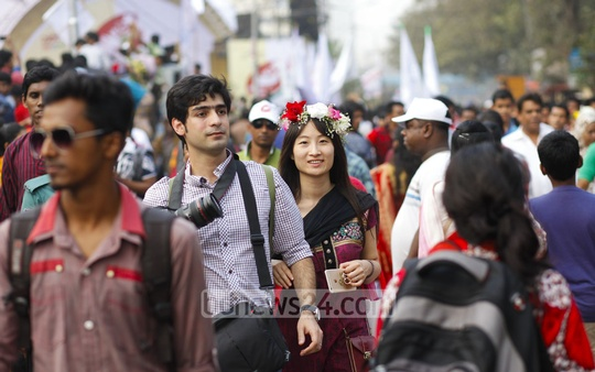 Many walked in pairs on the Dhaka University campus on Valentine's Day. Photo: nayan kumar