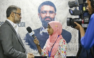 A ULAB student interviews Toufique Imrose Khalidi for a campus-based channel after the event.