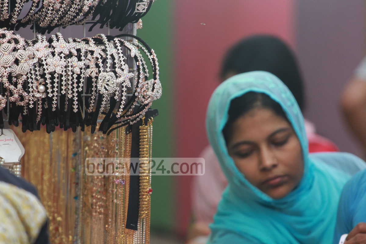 Visitors at a stall in 24th Chittagong International Trade Fair on Friday.