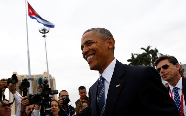 President Barack Obama smiles as he attends a wreath-laying ceremony the Jose Marti monument in Havana, Cuba March 21, 2016. Reuters