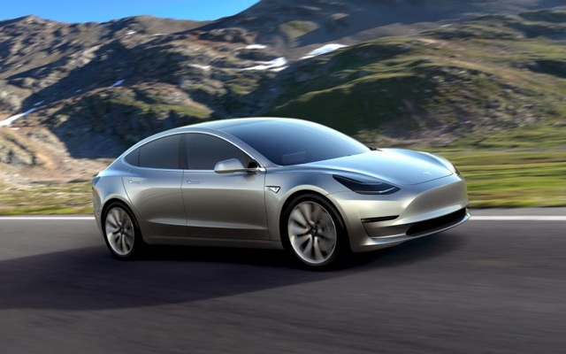A Tesla Motors mass-market Model 3 electric car is seen in this handout picture from Tesla Motors on March 31, 2016.Reuters