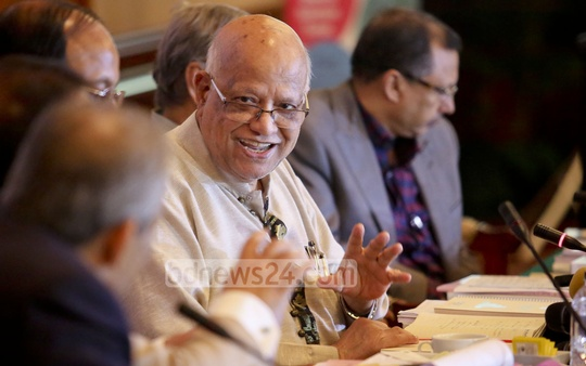 Finance Minister AMA Muhith speaks at a meeting of the National Revenue Board's consultation committee held in Dhaka hotel on Thursday. Photo: asaduzzaman pramanik