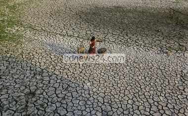 The current spell of drought cracked fields at Beraid under Dhaka's Bhatara. Farmers failed to cultivate the land this year due to the draught. Photo: mostafigur rahman