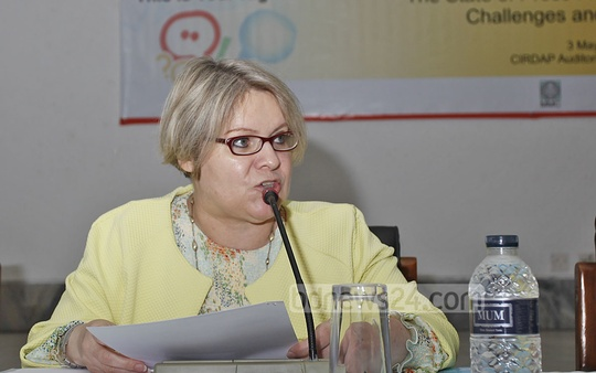 UNESCO Dhaka mission Chief Beatrice Kaldun speaking at seminar organised by the UNESCO, MMC and ICS on World Freedom Day at the CIRDAP auditorium in Dhaka on Tuesday. Photo: nayan kumar