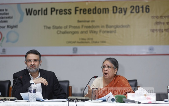 TIB Chairperson Sulatana Kamal speaks at a seminar organised bythe UNESCO, MMC and ICS on World Freedom Day at the CIRDAP auditorium in Dhaka on Tuesday. Photo: nayan kumar