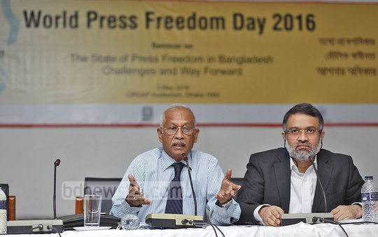 Chief Information Commissioner Prof Golam Rahman speaking at a seminar organised by the UNESCO, MMC and ICS on World Freedom Day at the CIRDAP auditorium in Dhaka on Tuesday. Photo: nayan kumar
