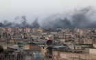 Smoke rises after airstrikes on the rebel-held al-Sakhour neighborhood of Aleppo, Syria April 29, 2016. Reuters