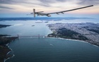 Solar Impulse 2', a solar-powered plane piloted by Bertrand Piccard of Switzerland, flies over the Golden Gate bridge in San Francisco, California, U.S. April 23, 2016, before landing on Moffett Airfield following a 62-hour flight from Hawaii. Jean Revillard/Solar... Reuters