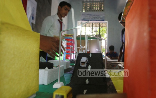 Students from various schools take part in a science and technology fair being held at the Chittagong Municipal Model High School.