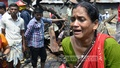 Inhabitants of Ambagan slum, in Dhaka, which caught fire on Wednesday, break down over the losses they suffered.