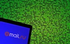 Mail.ru logo is seen in front of a displayed binary code in this illustration taken, May 4, 2016. Reuters