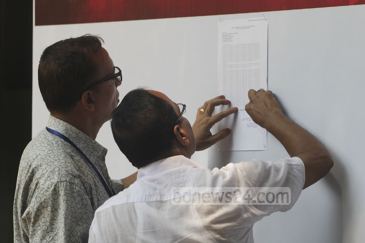 Guardians at the Holy Cross School and College in Dhaka scan the results list. Photo: asif mahmud ove