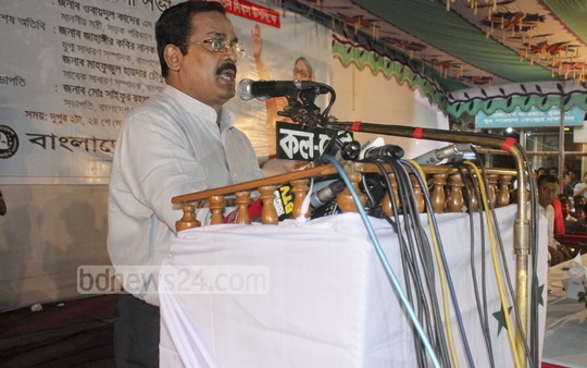 Awami League Joint General Secretary Jahangir Kabir Nanak in a discussion organised by the party's student wing Bangladesh Chhatra League at Bangabandhu Avenue to mark the day party chief Sheikh Hasina returned to Bangladesh in 1981.