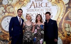 Cast members (L-R) Sacha Baron Cohen, Mia Wasikowska, Anne Hathaway and Johnny Depp pose at the premiere of ''Alice Through the Looking Glass'' at El Capitan theatre in Hollywood, U.S., May 23, 2016. Reuters