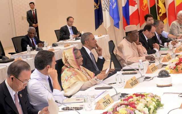 Sheikh Hasina with world leaders at a G7 Outreach Meeting. File Photo