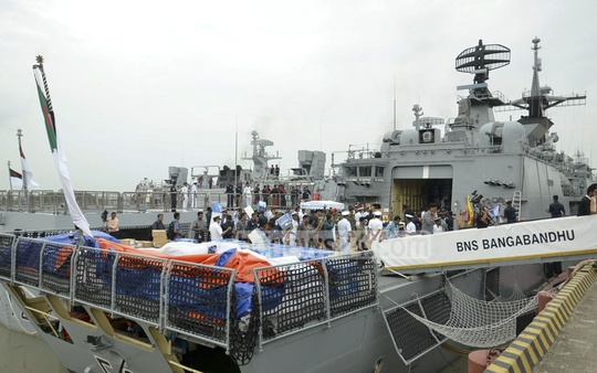 Bangladesh's naval ship BNS Bangabandhu left for Colombo from Chittagong Port on Tuesday with 105 tons of relief materials for Sri Lankan flood victims.