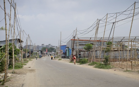 Bamboo poles are used to support overhead electric transmission lines along around one kilometer stretch of Banasree Staff Quarters Link Road. Local residents claim this hazardous work has been done in the knowledge of DESCO authorities. Photo: Abdul Mannan