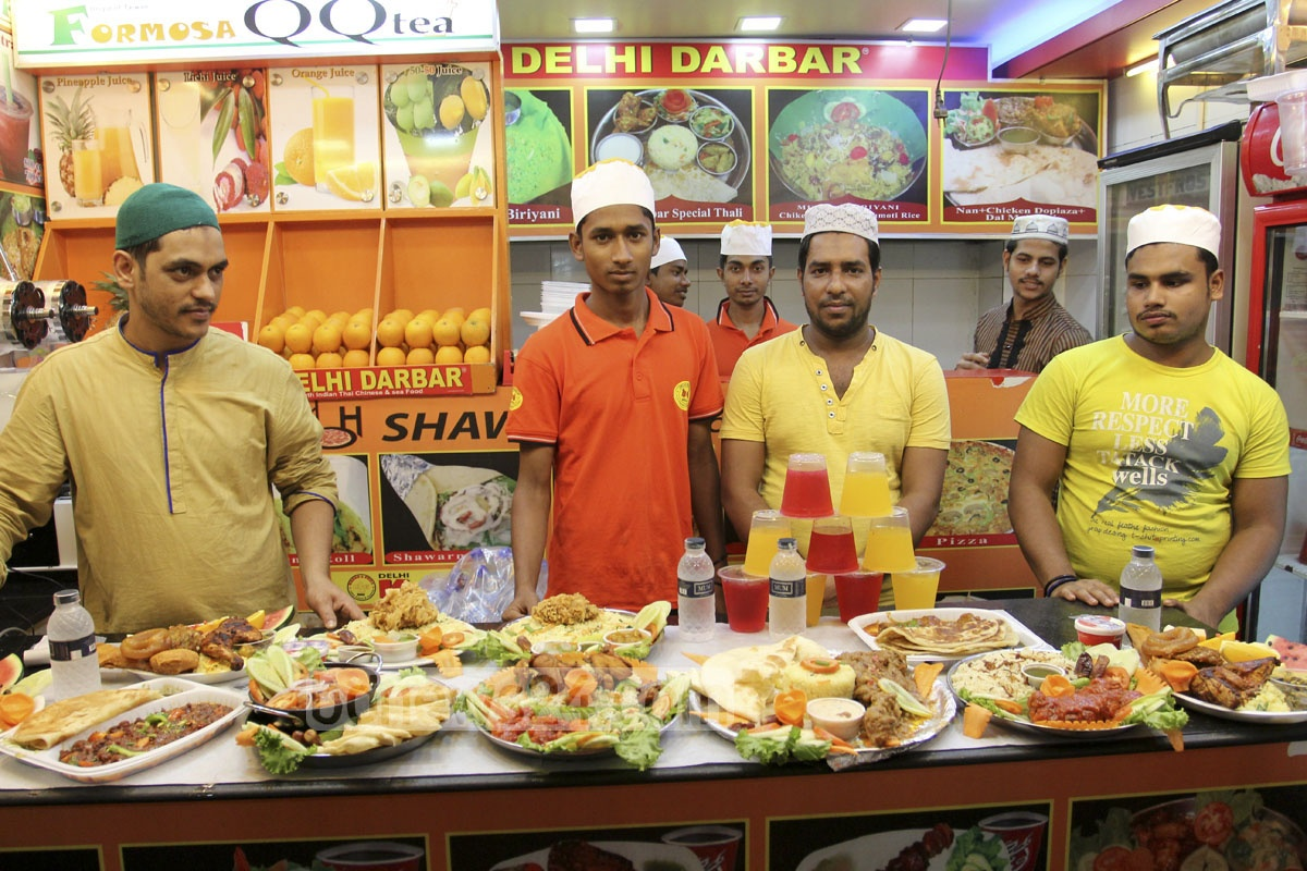 Shopkeepers display Iftar at Basundhara City shopping mall in Dhaka on Saturday.