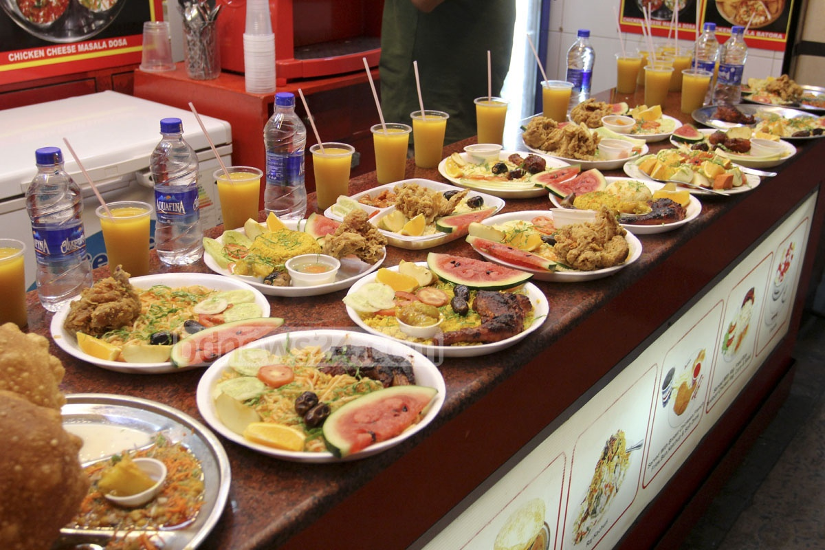 Iftar dishes are on display at Basundhara City shopping mall in Dhaka on Saturday.