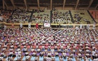 The Indian High Commission organised a yoga session at Mirpur Indoor Stadium. Photo: abdul mannan