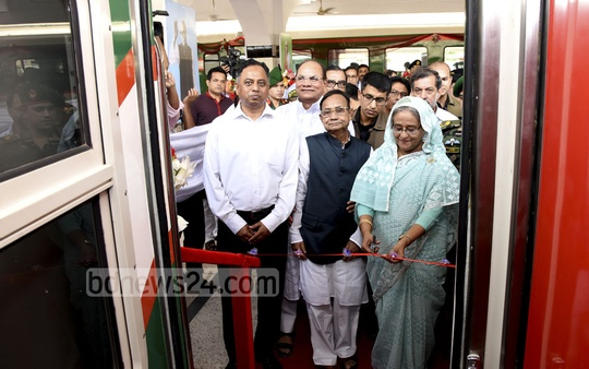 Prime Minister Sheikh Hasina launches the Dhaka-Chittagong non-stop 'Sonar Bangla Express' at the Kamalapur station on Saturday. Photo: Saiful Islam Kallol