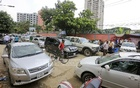 Though it gives the impression of a parking lot, it's actually a chaos of cars parked on the street housing the passport office and LGED Bhaban in Agargaon. Photo: asaduzzaman pramanik