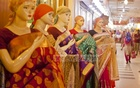 A group of mannequins have been dressed up in vibrant sarees to welcome buyers at a Shantinagar mall. Photo: tanvir ahammed