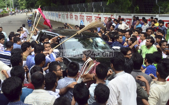 Bangladesh Chhatra League activists vandalise the car of Dhaka University Vice-Chancellor AAMS Arefin Siddique on Friday in protest against a souvenir that introduced military dictator Ziaur Rahman as Bangladesh's first president.