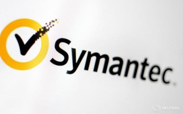 FILE PHOTO: The Symantec logo is pictured on a screen June 13, 2016. Reuters