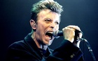 British Pop Star David Bowie screams into the microphone as he performs on stage during his concert in Vienna February 4, 1996. Reuters