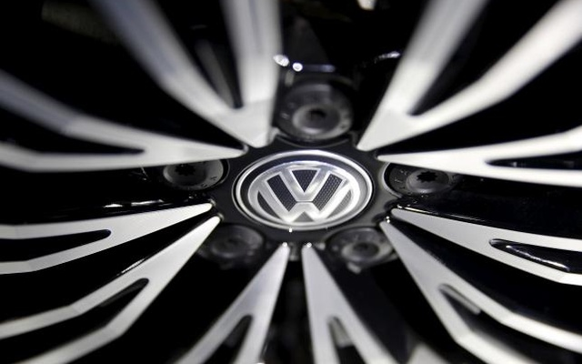A Volkswagen sign is seen on a wheel of a car presented during an auto show in Beijing April 25, 2016. Reuters