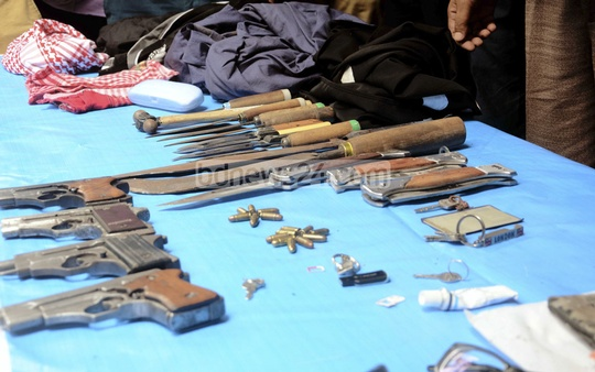 Weapons seized after a SWAT raid inside a militants' den inside an apartment building at Dhaka's Kalyanpur.