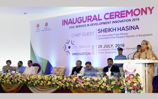 Prime Minister Sheikh Hasina addressing the inaugural ceremony of 'Civil Service in Development Innovation-2016' Summit at Bangabandhu Sheikh Mujibur Rahman Novo Theatre in Dhaka on Thursday. Photo: PMO