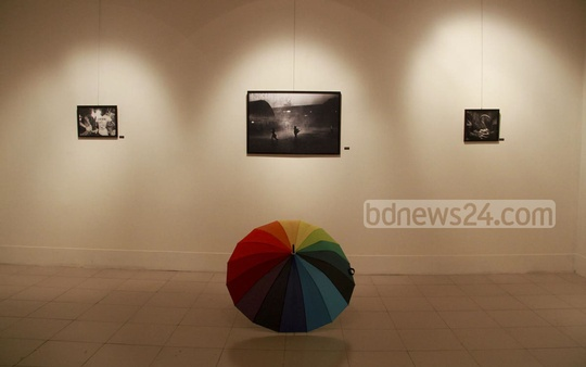 Some of the photos put on display at the photo fest on Friday. Photo: abdul mannan