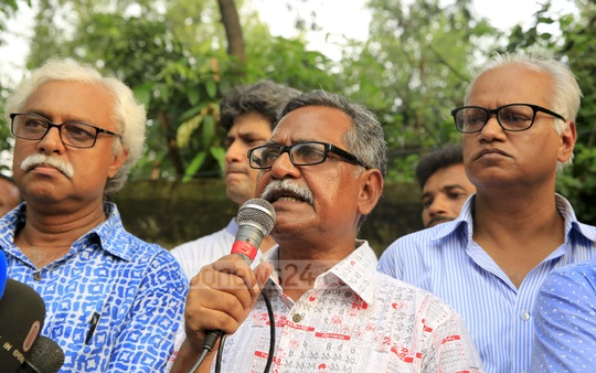 Professor Anu Muhammad, member secretary of National Committee to Protect Oil, Gas, Mineral Resources, Power, Ports, addresses demonstrators against police attack on the the committee's march protesting Rampal power plant.
