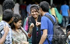A group of cheerful youths at the TSC premises at the Dhaka University on the Friendship Day.