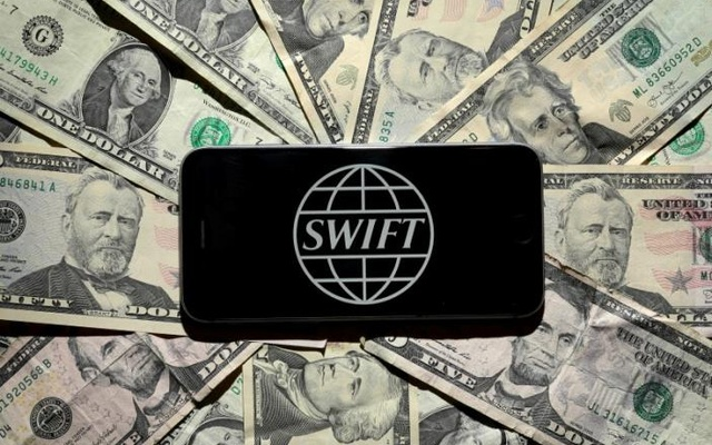 The Swift bank logo is pictured in this photo illustration taken April 26, 2016. Reuters