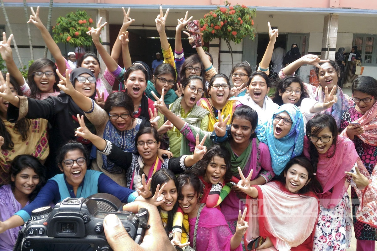 Students of Motijheel Ideal School and College celebrate their success at the HSC exams on Thursday. Photo: asif mahmud ove
