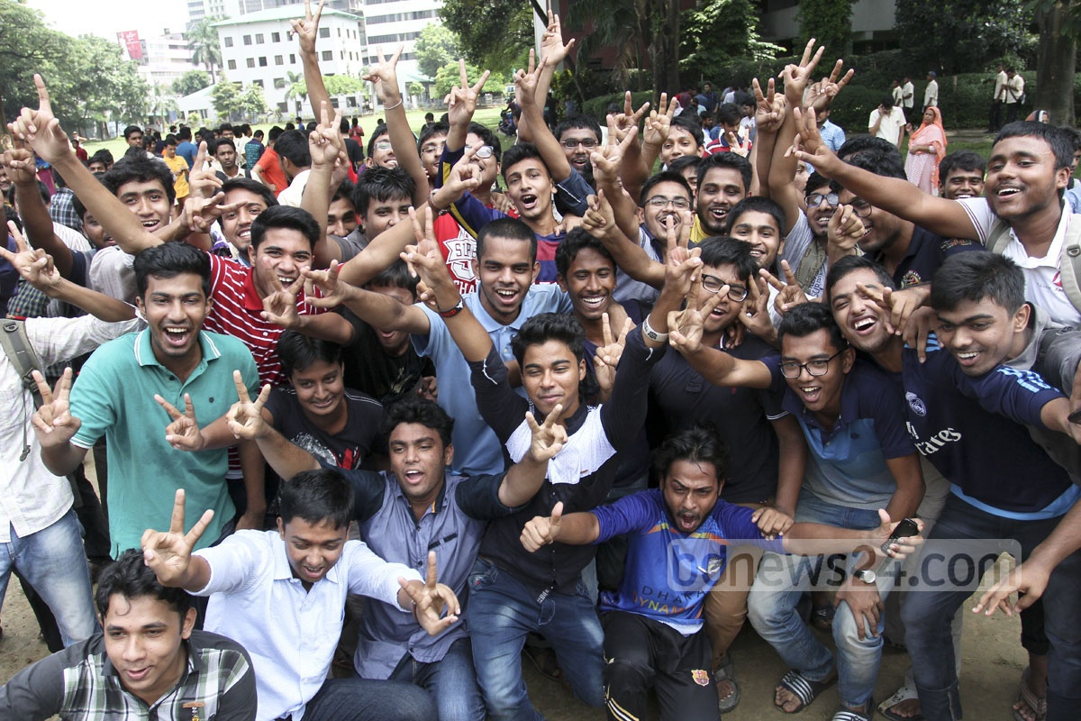 Notre Dame College students elated by their HSC results announced on Thursday. Photo: asif mahmud ove