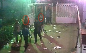 Two suspects in the murder of Avijit Roy seen in this still image taken from CCTV footage released by police.