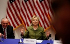 US Democratic presidential nominee Hillary Clinton delivers remarks at a gathering of law enforcement leaders including New York Police Commissioner Bill Bratton (L) at John Jay College of Criminal Justice in New York, US, August 18, 2016. Reuters