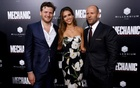 Director of the movie Dennis Gansel (L) poses with cast members Jason Statham and Jessica Alba at the premiere for the movie 'Mechanic: Resurrection' in Los Angeles, California U.S., August 22, 2016. Reuters
