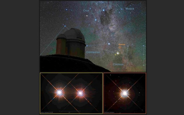 A view of the southern skies over the European Southern Observatory (ESO) 3.6-metre (11.8 foot) telescope at the La Silla Observatory in Chile with images of the stars Proxima Centauri (lower-right) and the double star Alpha Centauri AB (lower-left) from the NASA/ESA Hubble Space Telescope as seen in an undated image released by the European Southern Observatory August 24, 2016. Y. Beletsky/LCO/ESO/ESA/NASA/M. Zamani/Handout via Reuters