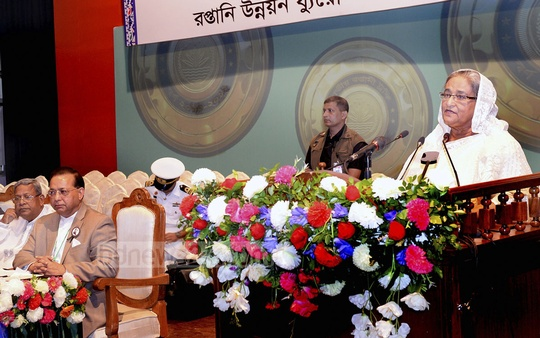 Prime Minister Sheikh Hasina addresses a programme on awarding National Export Trophy in Dhaka on Sunday.