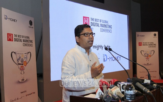 State Minister for ICT Zunaid Ahmed Palak speaking at a conference on digital marketing organised by Biopi Leo Burnett and Mighty Byte at the Krishibid Institute auditorium in Dhaka on Monday.