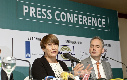 Dutch Minister for Foreign Trade and Development Cooperation Lilianne Ploumen speaks to the media after the inauguration of a conference on RMG industry at a Dhaka hotel on Thursday. Photo: asif mahmud ove