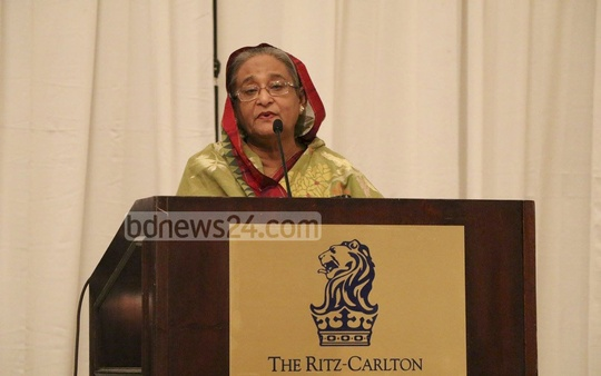 Prime Minister Sheikh Hasina addresses a reception by Bangladeshi expatriates in Washington.