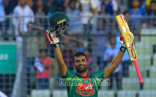 Tamim Iqbal celebrates scoring century against Afghanistan. He reached his seventh ton and became the top centurion for Bangladesh in ODIs, surpassing ace allrounder Shakib Al Hasan. Photo: Mostafigur Rahman